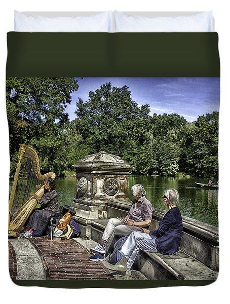 Harpist - Central Park Duvet Cover by Madeline Ellis