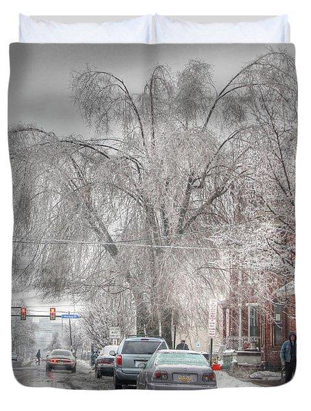Harrisburg On Ice Duvet Cover by Lori Deiter