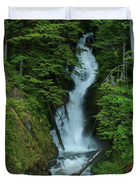 Duvet Cover featuring the photograph Harrison Lake Road Falls by Rod Wiens