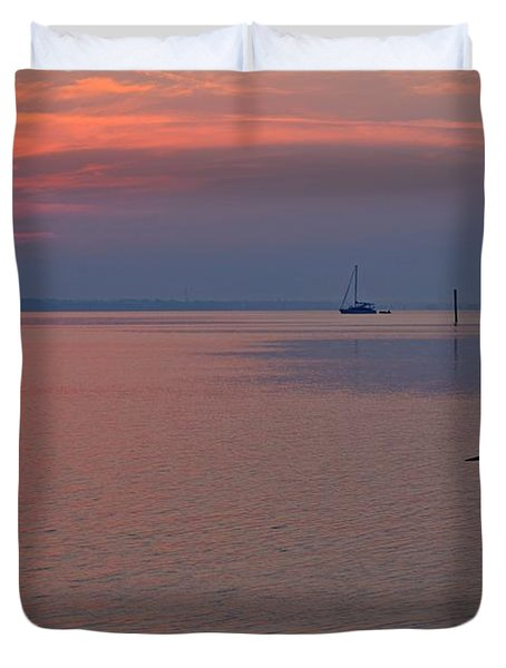 Harry The Heron Fishing On Santa Rosa Sound At Sunrise Duvet Cover by Jeff at JSJ Photography