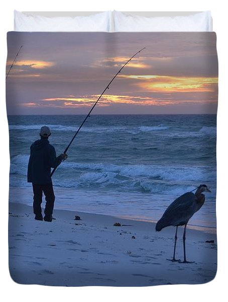 Duvet Cover featuring the photograph Harry The Heron Fishing With Fisherman On Navarre Beach At Sunrise by Jeff at JSJ Photography