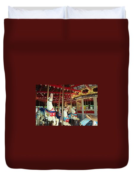 Duvet Cover featuring the photograph Hartford Carousel by Barbara McDevitt