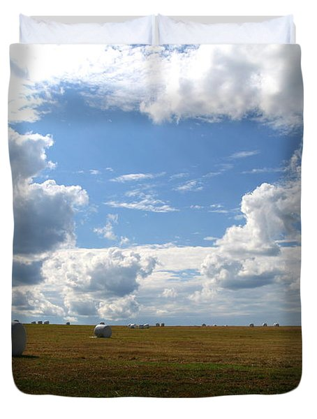 Duvet Cover featuring the photograph Harvest Blue  by Neal Eslinger