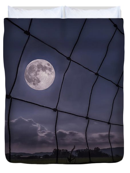 Duvet Cover featuring the photograph Harvest Moon by Jaki Miller