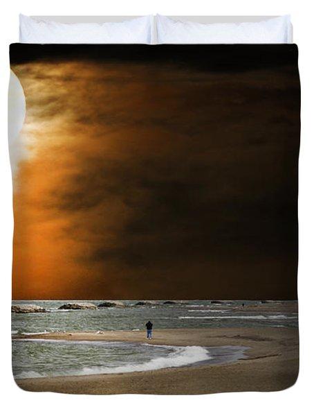 Harvest Moon On The Beach Duvet Cover