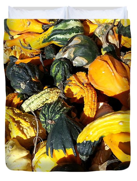 Duvet Cover featuring the photograph Harvest Squash by Caryl J Bohn