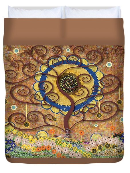 Harvest Swirl Tree Duvet Cover