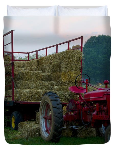 Harvest Time Tractor Duvet Cover by Bill Cannon