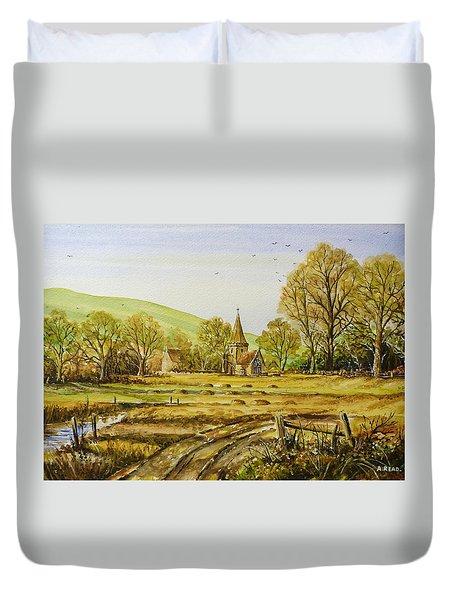 Harvesting Fields Duvet Cover by Andrew Read