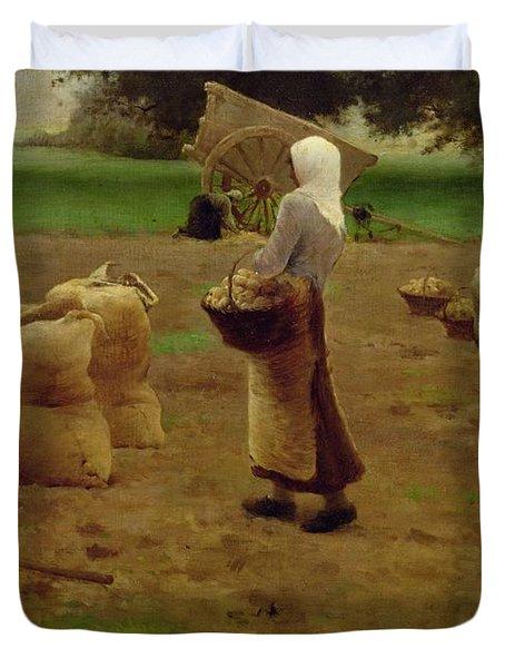 Harvesting Potatoes Oil On Canvas Duvet Cover