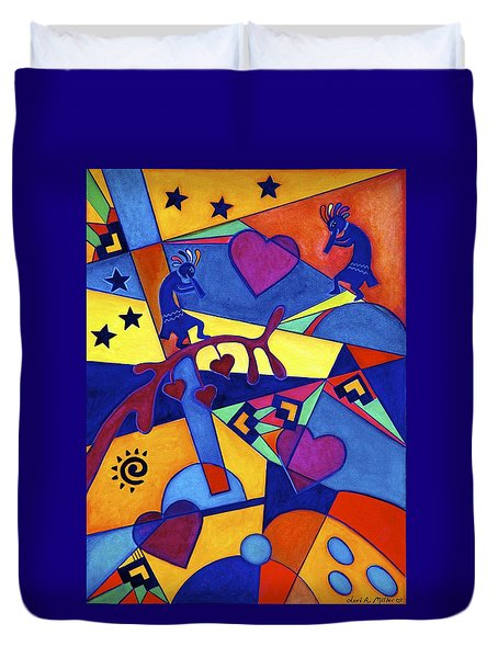 Harvesting The Love Kokopelli Art  Duvet Cover