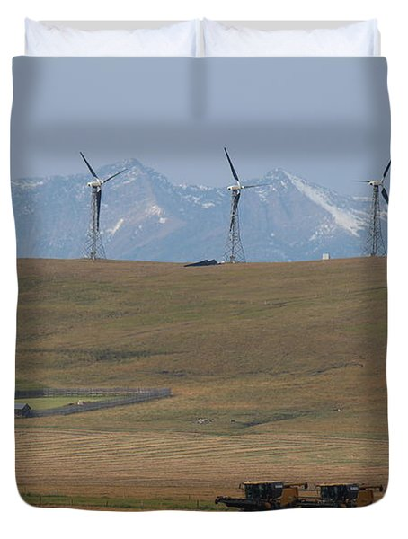 Duvet Cover featuring the photograph Harvesting Wind And Grain by Ann E Robson