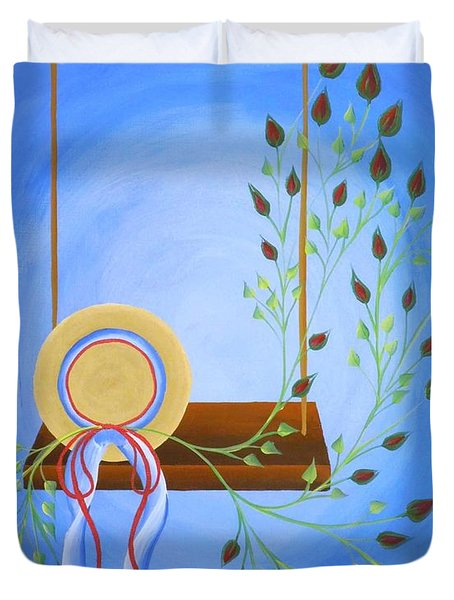 Hat On A Swing Duvet Cover by Ron Davidson