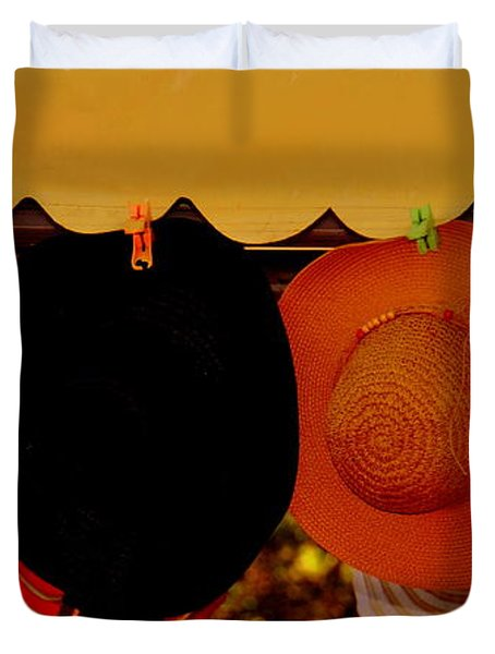 Duvet Cover featuring the photograph Hats Of Many Colors by Caroline Stella