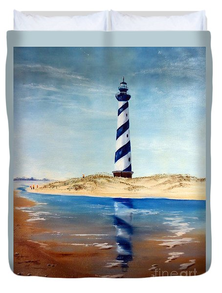 Hatteras Lighthouse Duvet Cover by Lee Piper