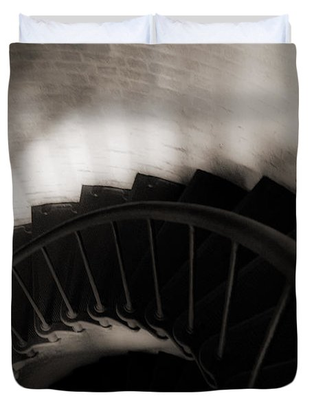 Duvet Cover featuring the photograph Hatteras Staircase by Angela DeFrias