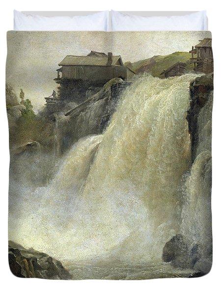 Haugfoss In Norway Duvet Cover