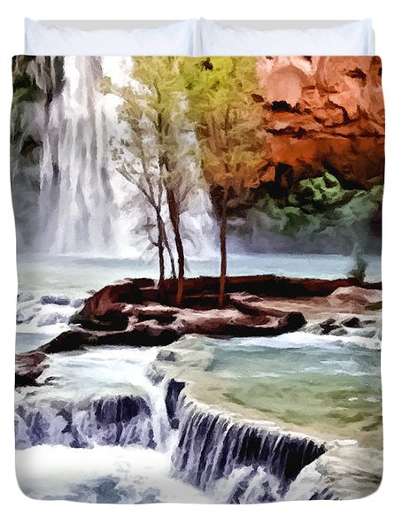 Havasau Falls Painting Duvet Cover by Bob and Nadine Johnston