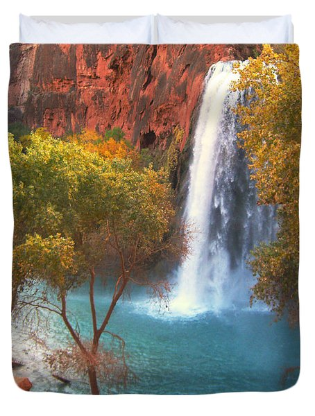 Duvet Cover featuring the photograph Havasu Falls by Alan Socolik