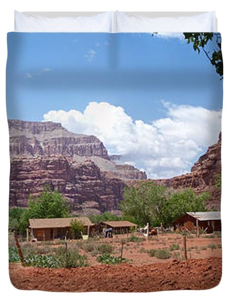 Duvet Cover featuring the photograph Havasupai Village Panorama by Alan Socolik