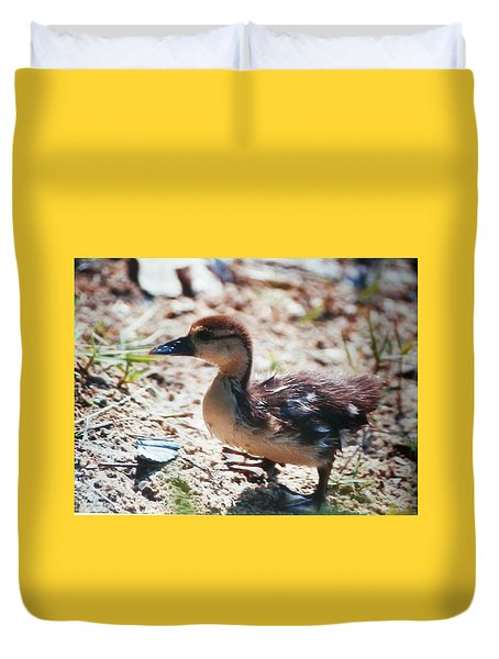 Duvet Cover featuring the photograph Lost Baby Duckling by Belinda Lee