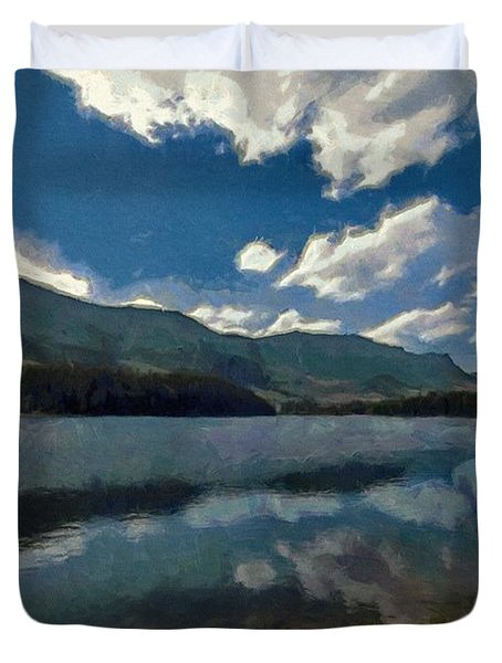 Duvet Cover featuring the painting Haviland Lake by Jeff Kolker