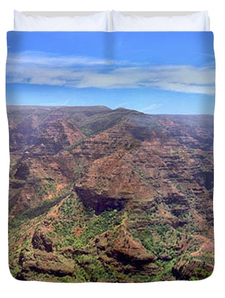 Hawaii Kauai Waimea Canyon Beautiful Panorama Duvet Cover by David Zanzinger