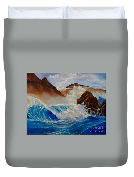 Duvet Cover featuring the painting Hawaii On The Rocks by Jenny Lee
