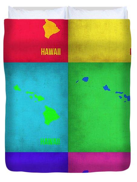 Hawaii Pop Art Map 1 Duvet Cover
