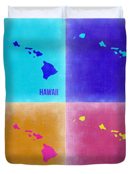 Hawaii Pop Art Map 2 Duvet Cover