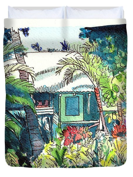 Hawaiian Cottage 3 Duvet Cover by Marionette Taboniar