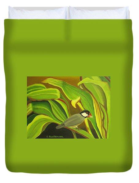 Hawaiian Finch On Tea Leaves Duvet Cover by Elaine Haakenson
