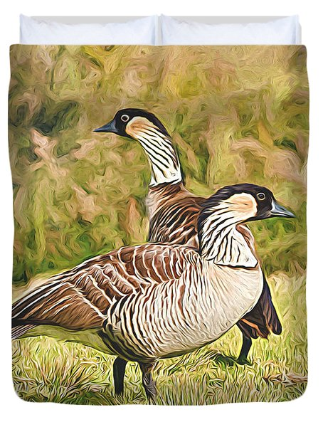 Hawaiian Goose Couple Duvet Cover