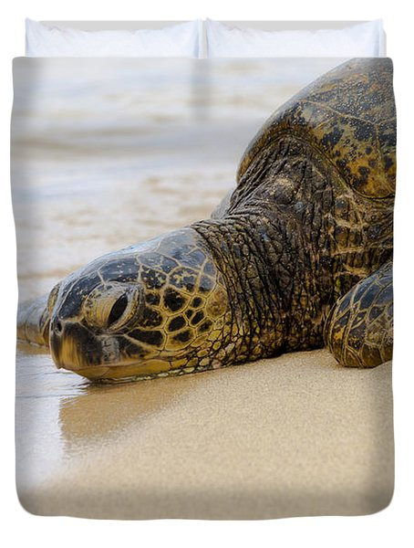 Hawaiian Green Sea Turtle 3 Duvet Cover by Brian Harig