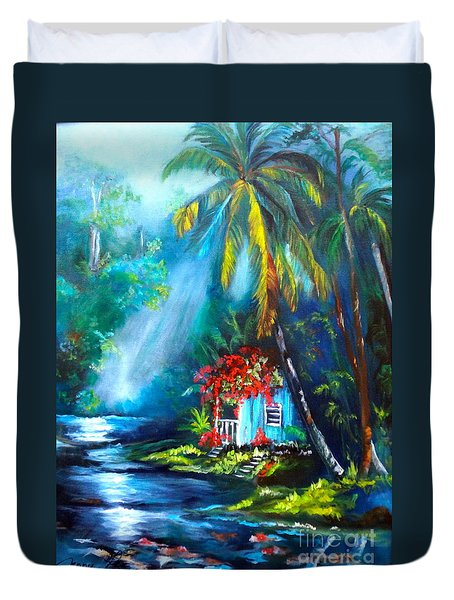 Duvet Cover featuring the painting Hawaiian Hut In The Mist by Jenny Lee