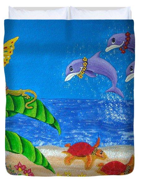 Hawaiian Lei Day Duvet Cover by Pamela Allegretto