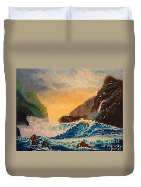 Duvet Cover featuring the painting Hawaiian Turquoise Sunset   Copyright by Jenny Lee