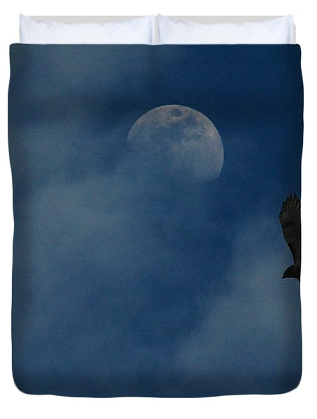 Hawk And Moon Coming Out Of The Mist Duvet Cover