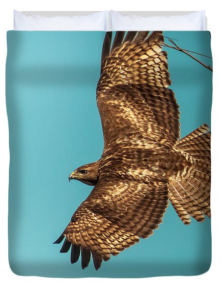 Hawk In Flight Duvet Cover