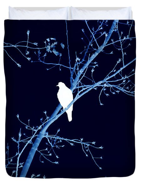 Hawk Silhouette On Blue Duvet Cover