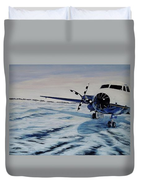 Duvet Cover featuring the painting Hawker - Airplane On Ice by Marilyn  McNish