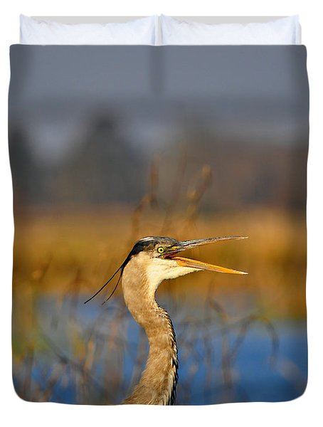 Hawking Heron Duvet Cover by Al Powell Photography USA