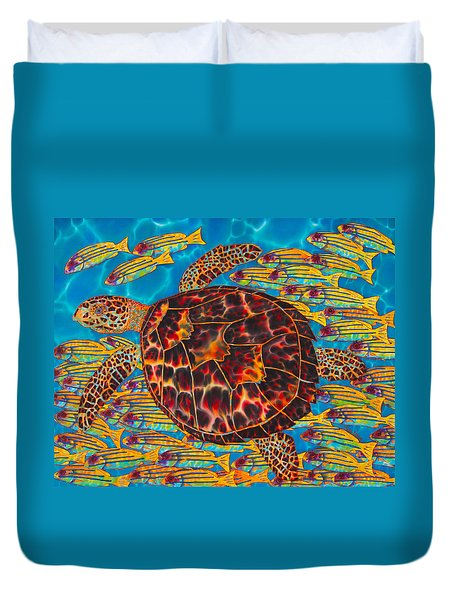 Hawksbill Sea  Turtle And  Snappers Duvet Cover