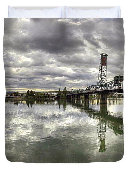 Hawthorne Bridge Over Willamette River Duvet Cover