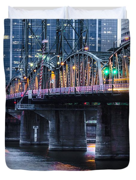 Hawthorne Bridge Portland Oregon Duvet Cover