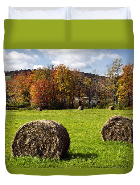 Hay Bales And Fall Colors Duvet Cover by Christina Rollo