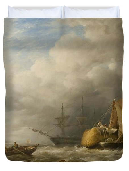Hay Barges In The Thames Estuary Duvet Cover by Alfred Herbert