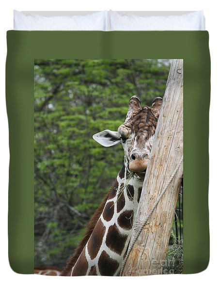 Duvet Cover featuring the photograph Hay Not Just For Horses by Judy Whitton