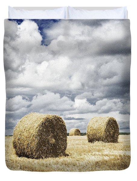 Haybales In A Field In England Uk Duvet Cover by Jon Boyes
