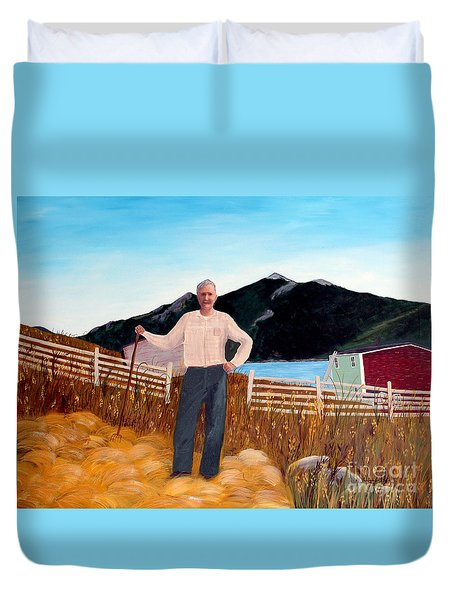 Haymaker With Pitchfork  Duvet Cover by Barbara Griffin